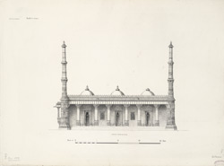 Ahmadabad: Rani Sipra's mosque [front elevation and plan]